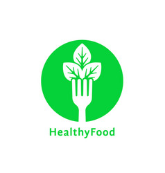 simple green round healthy food logo vector image