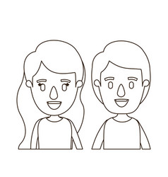 Sketch contour caricature front view half body vector