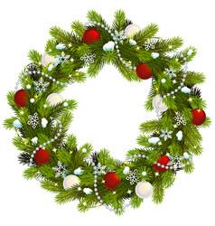 Snowy christmas fir wreath vector