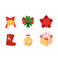 Sock and bells mistletoe and star ball and present vector