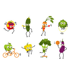 Sports vegetables set of various cute cartoon vector