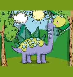 Stegosaurus prehistoric dino animal with plants vector