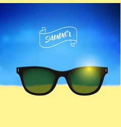 Summer poster with lettering on banner with vector