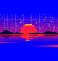 sun and ocean 1980s style vector image