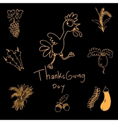 Thanksgiving doodle set art vector