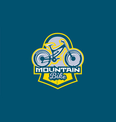 The emblem of the mountain bike sport bike logo vector