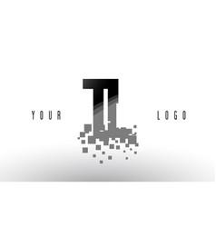 Tl t l pixel letter logo with digital shattered vector