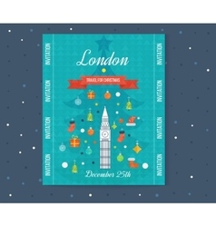 Travel to London Merry Christmas greeting card vector