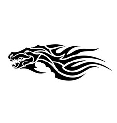 tribal tattoo art with black evil dragon head vector image