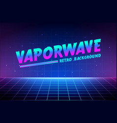 vaporwave text on laser grid background retro vector image