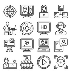 Video conference and online meeting icons set vector