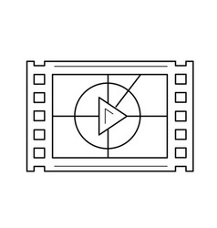 Video frame line icon vector