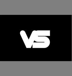 vs v s black white bold joint letter logo vector image