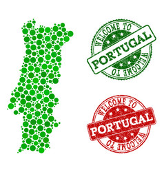 Welcome collage of map of portugal and textured vector