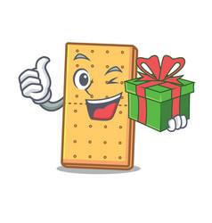 With gift graham cookies mascot cartoon vector