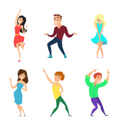Young people dancing active boys and girls vector