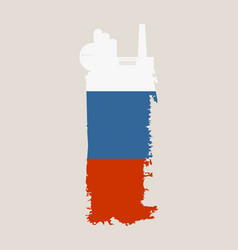 factory icon and grunge brush russia flag vector image