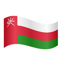flag of oman waving on white background vector image