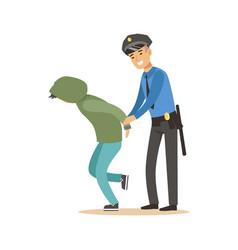 police officer arresting criminal character vector image