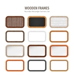 Wooden Rounded Rectangle Banners Set vector image vector image