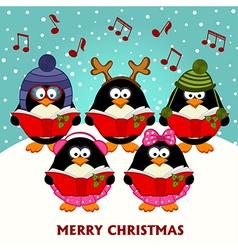 Christmas choir penguins vector image