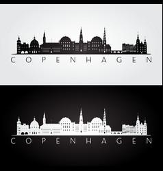 copenhagen skyline and landmarks silhouette vector image