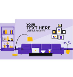 flat design banner of living room vector image