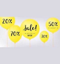 flying balloons concept of sale for shops yellow vector image vector image
