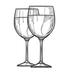 glass of wine freehand pencil drawing vector image vector image