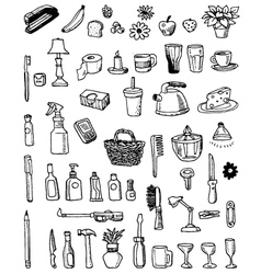household doodles vector image
