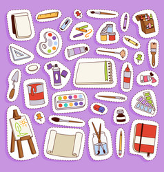 painting artist tools palette icon set flat vector image vector image