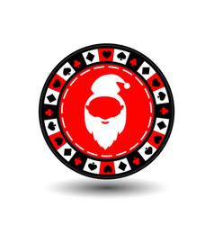 poker chip Christmas new year Santa Claus red vector image vector image