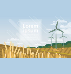 wind turbine tower in field blue sky alternative vector image