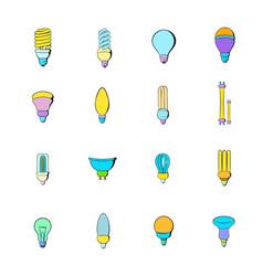 light bulb icons set cartoon vector image