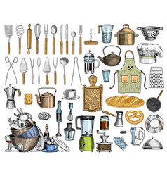 apron or pinaphora and hood rolling pin and vector image