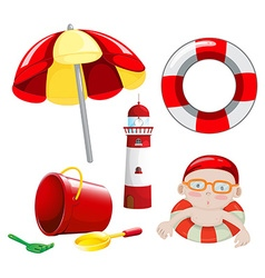 Beach set in red tone vector image vector image