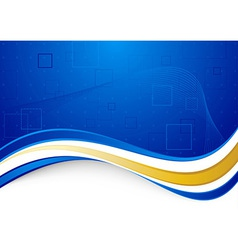 Blue communicational background with golden border vector image