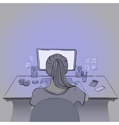 Girl Works at the Computer vector image