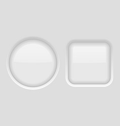 round and square buttons set of white plastic web vector image
