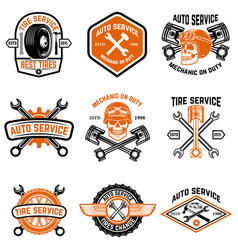 Set of car service auto service tire change vector