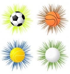 sport balls over starburst vector image vector image