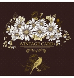 Vintage Floral Card with Birds and Daisies vector image vector image
