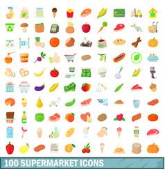 100 supermarket icons set cartoon style vector image