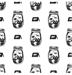 adventure jar bottle seamless pattern with tent vector image