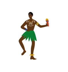 African man dancing with maraca male aboriginal vector