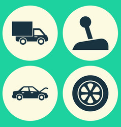 Automobile icons set collection of wheel lorry vector