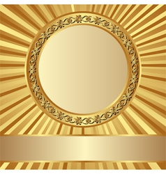Background with gold round frame vector