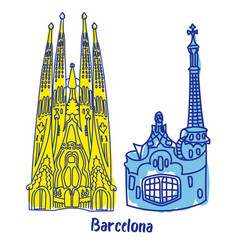Barcelona buildings flat color vector