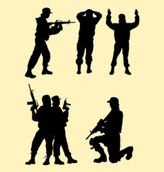 beautiful female soldier gesture silhouette vector image