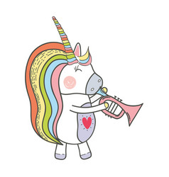 Beautiful unicorn play trumpet instrument vector